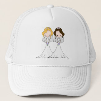 Blonde and Brunette Cartoon Brides Lesbian Wedding Trucker Hat