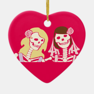 Blonde and Brunette Female Skeleton Couple Ceramic Heart Decoration