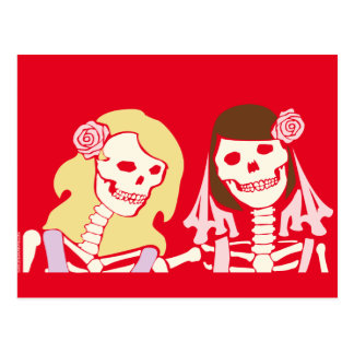 Blonde and Brunette Female Skeleton Couple Postcard