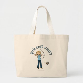 Blonde Archery in Blue Large Tote Bag