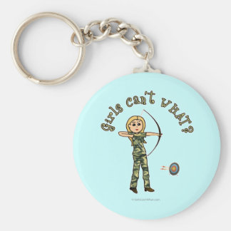 Blonde Archery in Camouflage Basic Round Button Key Ring