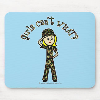 Blonde Army Woman Mouse Pad