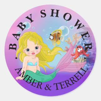 Blonde Baby Mermaid Underwater Fantasy Baby Shower Round Sticker