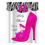 Blonde Baby Shower Girl Pink Baby Shoe Purple Custom Invitation