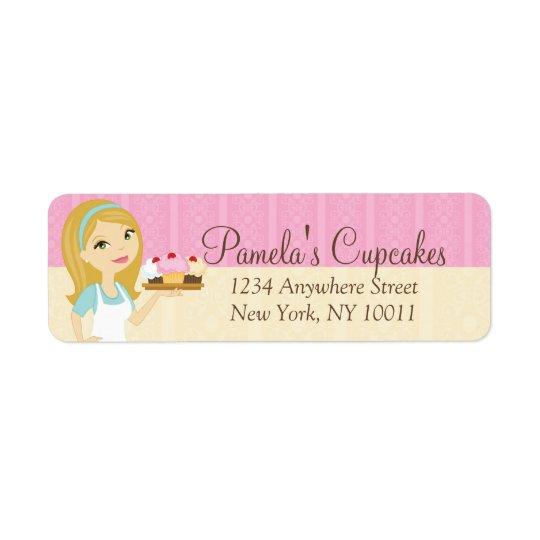 Blonde Baker Cupcake D12 Return Address Labels 3