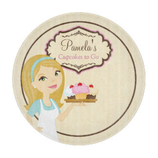 Blonde Baker Cupcake D12 Round Cutting Board 1