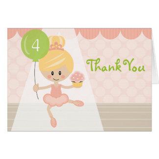 Blonde Ballerina Birthday Thank You Cards