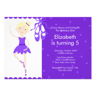Blonde Ballerina Dance Birthday Invitation Purple