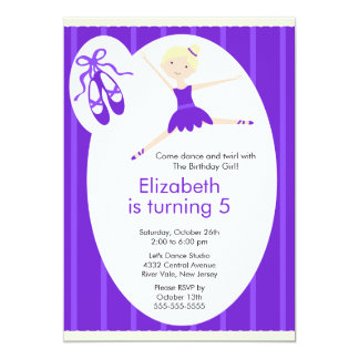 Blonde Ballerina Dance Birthday Invitation Purple