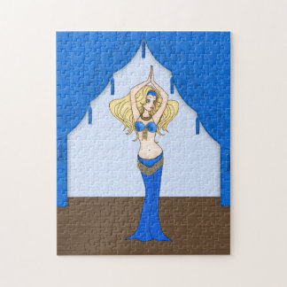 Blonde Bellydancer in Blue and Gold Costume Jigsaw Puzzle