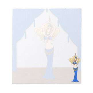 Blonde Bellydancer in Blue and Gold Costume Scratch Pads