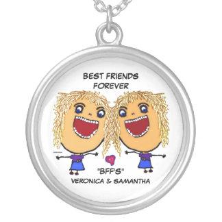 Blonde Best Friends Cartoon Round Pendant Necklace