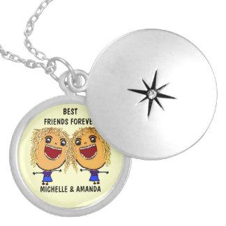 Blonde Best Friends Forever Cartoon Round Locket Necklace