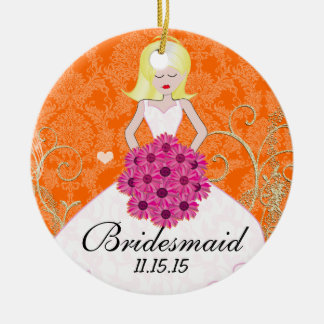 Blonde Birdesmaid  Gifts You Choose Colors Round Ceramic Decoration