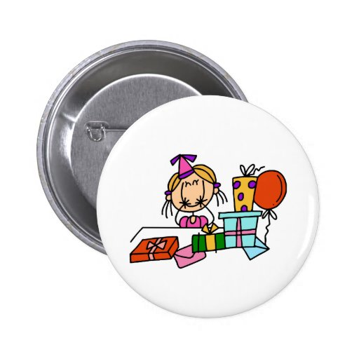 Blonde Birthday Girl With Gifts T-shirts and Gifts Badges