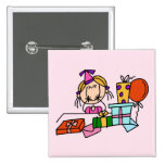 Blonde Birthday Girl With Gifts T-shirts and Gifts Badge