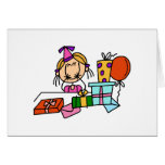 Blonde Birthday Girl With Gifts T-shirts and Gifts Greeting Card
