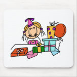 Blonde Birthday Girl With Gifts T-shirts and Gifts Mousemat