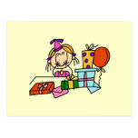 Blonde Birthday Girl With Gifts T-shirts and Gifts Post Cards