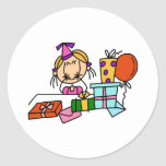 Blonde Birthday Girl With Gifts T-shirts and Gifts Round Sticker