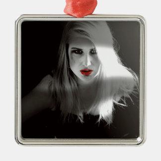 Blonde bombshell noir effect christmas ornament