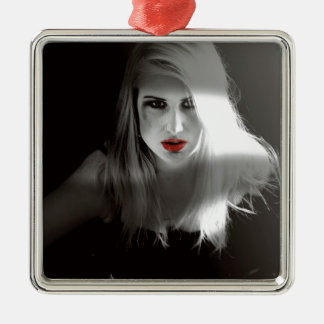 Blonde bombshell noir effect Silver-Colored square decoration