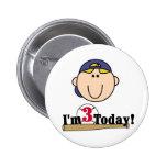 Blonde Boy Baseball 3rd Birthday Pinback Buttons