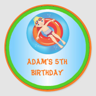 Blonde Boy Pool Birthday Party Favor Labels