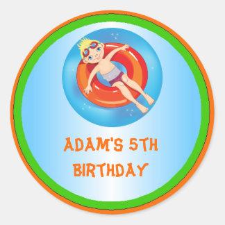 Blonde Boy Pool Birthday Party Favor Labels Round Sticker