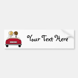 Blonde Bride and Brunette Groom in Red Wedding Car Bumper Sticker
