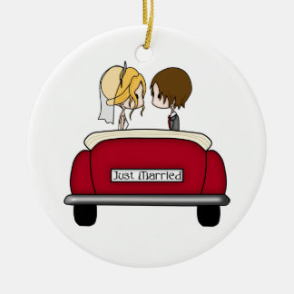 Blonde Bride and Brunette Groom in Red Wedding Car Christmas Ornament
