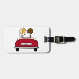 Blonde Bride and Brunette Groom in Red Wedding Car Luggage Tag