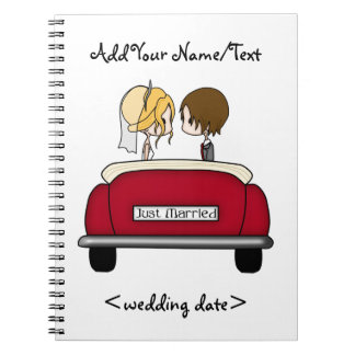 Blonde Bride and Brunette Groom in Red Wedding Car Spiral Notebook