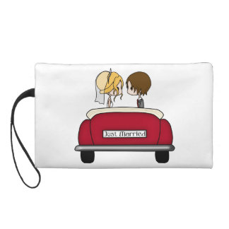 Blonde Bride and Brunette Groom in Red Wedding Car Wristlet