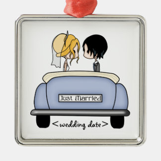 Blonde Bride & Black Haired Groom in Blue Car Christmas Ornament