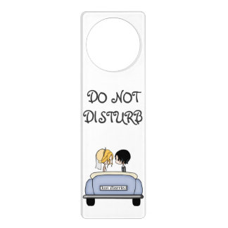 Blonde Bride & Black Haired Groom in Blue Car Door Hangers