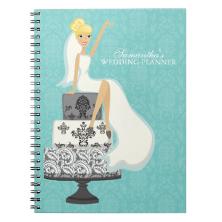 Blonde Bride on Wedding Cake {aqua} Notebook