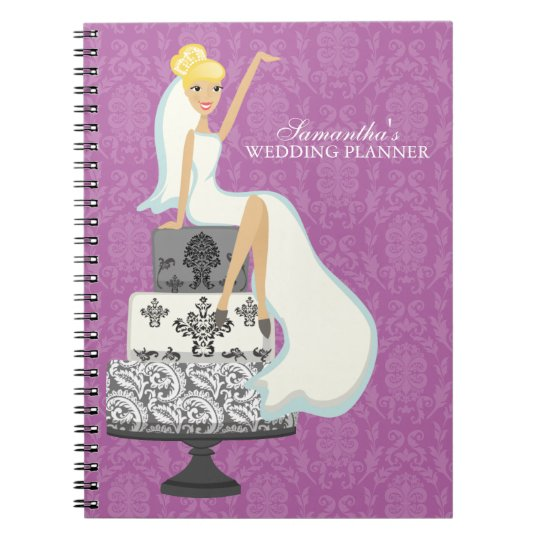 Blonde Bride on Wedding Cake {orchid} Notebook