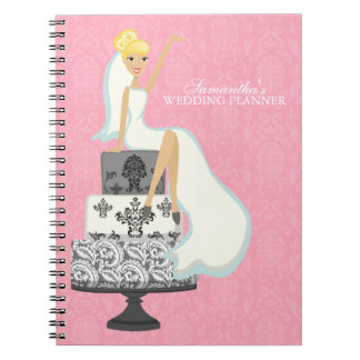 Blonde Bride on Wedding Cake {pink} Notebooks