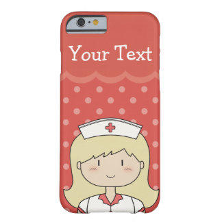 Blonde Cartoon Nurse with Custom Text (red) Barely There iPhone 6 Case