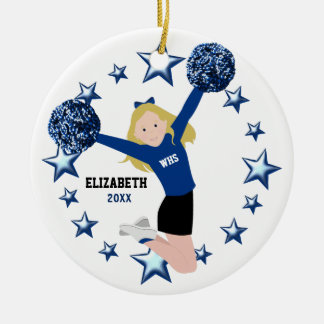 Blonde Cheerleader Pom Poms in Blue & Black Round Ceramic Decoration