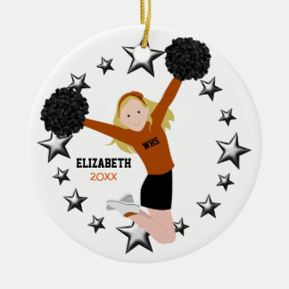 Blonde Cheerleader Pom Poms in Orange & Black Round Ceramic Decoration