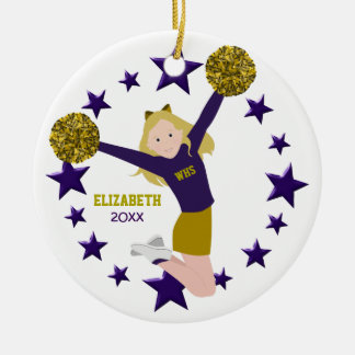 Blonde Cheerleader Pom Poms In Purple & Gold Round Ceramic Decoration