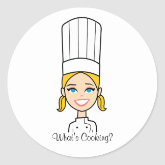 Blonde Chef Cartoon Sticker - Baker Lady