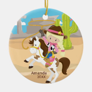 Blonde Cowgirl Horseback Girl Christmas Ornament