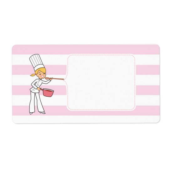 Blonde Cute Cartoon Chef Jar Label