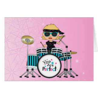 Blonde Drummer Girl with Stars on Pink Card