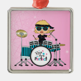 Blonde Drummer Girl with Stars on Pink Christmas Ornament