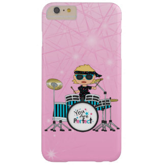 Blonde Drummer Girl with Stars on Pink iPhone 6 Case