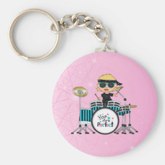 Blonde Drummer Girl with Stars on Pink Key Ring